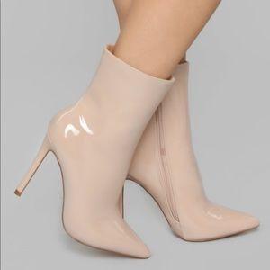 Taupe Patent Stiletto Heel Bootie